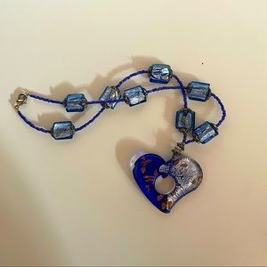 Y2K blue and silver glass beaded heart necklace